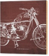 1963 Triumph Bonneville, Blueprint Red Background Wood Print