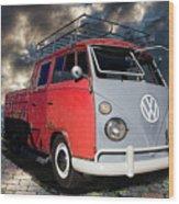 1963 Volkswagen Double Cab Truck Wood Print
