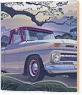 1964 Chevrolet Short Bed Custom Half Ton In The Morning Mist Wood Print