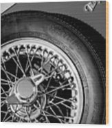 1964 Morgan 44 Spare Tire Black And White Wood Print