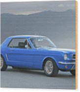 1965 Ford Mustang 'blue Coupe' I Wood Print