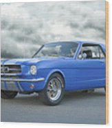 1965 Ford Mustang 'blue Coupe' IIa Wood Print