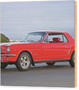 1965 Ford Mustang 'red Coupe' I Wood Print