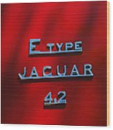 1965 Jaguar E Type Emblem Wood Print