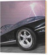 1966 Corvette Stingray With Lightning Wood Print