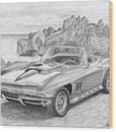 1967 Chevrolet Corvette 427 Convertible Sports Car Art Print Wood Print