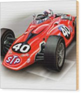 1967 Stp Turbine Indy 500 Car Wood Print by David Kyte