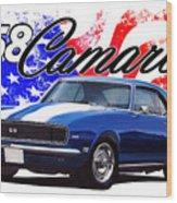 1968 Camaro Stars And Stripes Wood Print