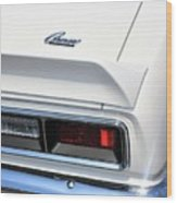 1968 Chevy - Chevrolet Camaro Tail Lights And Logo Wood Print