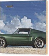 1968 Ford Bullitt Mustang Gt 390 Fastback, P-51 Mustang, Plymouth Rock Chicken Wood Print