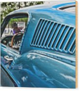 1968 Ford Mustang Fastback In Blue Wood Print