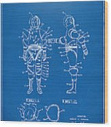1968 Hard Space Suit Patent Artwork - Blueprint Wood Print by Nikki Marie Smith