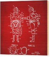 1968 Hard Space Suit Patent Artwork - Red Wood Print