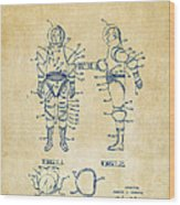1968 Hard Space Suit Patent Artwork - Vintage Wood Print