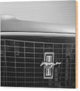1969 Ford Mustang Grille Emblem -0133bw Wood Print