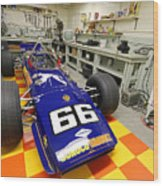 1969 Penske Indy Car In Garage Wood Print