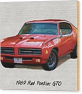 1969 Red Pontiac Gto The Judge Wood Print