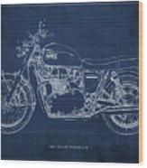1969 Triumph Bonneville Blueprint Blue Background Wood Print