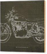 1969 Triumph Bonneville Blueprint Brown Background Wood Print