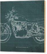 1969 Triumph Bonneville Blueprint Green Background Wood Print