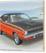 1970 Barracuda Aar  Cuda Classic Muscle Car Wood Print