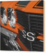 1970 Chevelle Ss396 Ss 396 Orange Wood Print