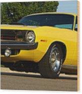1970 Hemi 'cuda - Lemon Twist Yellow Wood Print