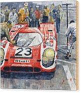 1970 Le Mans 24 Porsche917k Attwood Herrmann Winner  Wood Print