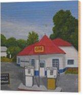 1970s Gas Station Wood Print