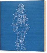 1973 Astronaut Space Suit Patent Artwork - Blueprint Wood Print by Nikki Marie Smith