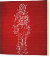 1973 Astronaut Space Suit Patent Artwork - Red Wood Print by Nikki Marie Smith