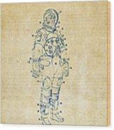 1973 Astronaut Space Suit Patent Artwork - Vintage Wood Print