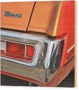 1973 Plymouth Scamp Tail Lights And Logo Wood Print