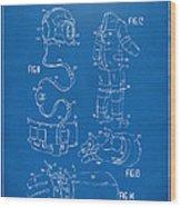 1973 Space Suit Elements Patent Artwork - Blueprint Wood Print by Nikki Marie Smith