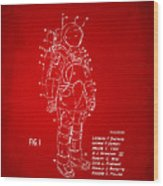 1973 Space Suit Patent Inventors Artwork - Red Wood Print