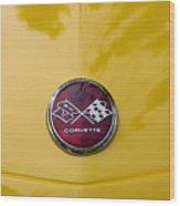 1976 Canary Yellow Vette Hood Emblem Wood Print