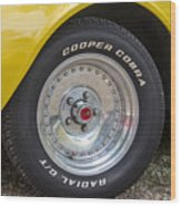 1976 Canary Yellow Vette Wheel Wood Print