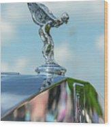 1976 Rolls  Royce Saloon Hood Ornament Wood Print