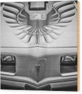 1979 Pontiac Trans Am Hood Firebird -0812bw Wood Print