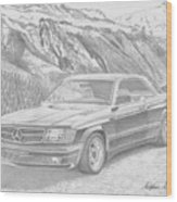 1984 Mercedes Benz 560 Sec Amg Classic Car Drawing Wood Print
