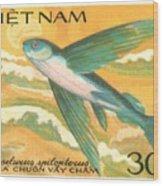 1984 Vietnam Flying Fish Postage Stamp Wood Print