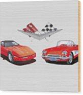 1986 And 1961 Corvettes Wood Print