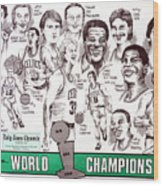 1986 Boston Celtics Championship Newspaper Poster Wood Print