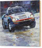 1986 Porsche 959/50 #185 2nd Dakar Rally Raid Ickx, Brasseur Wood Print