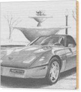 1989 Chevrolet Corvette Sports Car Art Print Wood Print