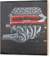 1990 Ferrari F1 Engine V12 Wood Print