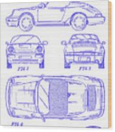 1990 Porsche 911 Patent Blueprint Wood Print