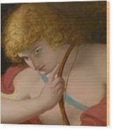 19th Century English School Cupid With Bow. Wood Print