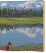 1m1326 Wife And Son In Denali National Park Wood Print