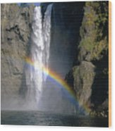 1m4716 Snoqualmie Falls And Rainbow Wood Print
